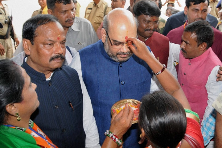 BJP President, Amit Shah, welcomed, party workers, arrives, party workers, meeting, Ranchi