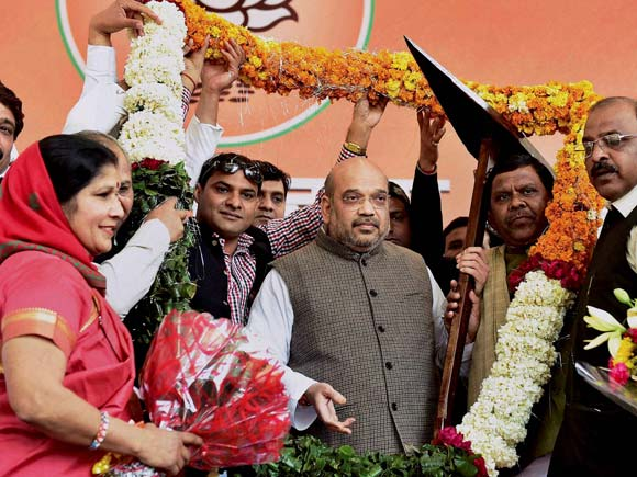BJP President, Amit Shah BJP, BJP President Re-Election, Narendra Modi, BJP, BJP President 2016, Rajnath Singh, BJP workers with Amit Shah