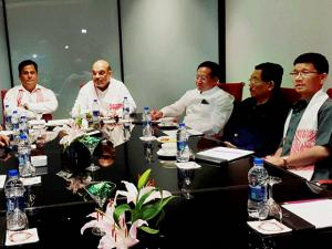 Amit Shah meets the Chief Minister of Assam Sarbananda Sonowal, Chief Minister of Sikkim Pawan Kumar Chamling, Chief Minister of Arunachal Pradesh Kalikho Pul and Chief Minister of Nagaland