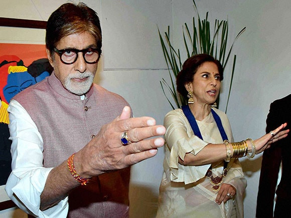 Celebration of Love, art exhibition, Amitabh Bachchan, Jaya Bachchan, Shobhaa De, Dilip De