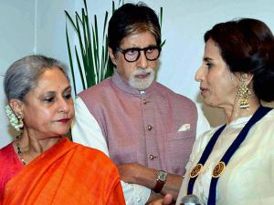 Amitabh Bachchan and Jaya Bachchan with Shobhaa De