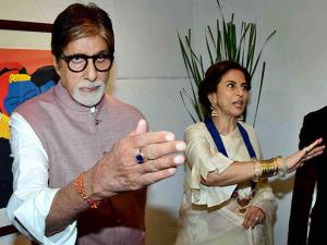 Amitabh Bachchan with Shobhaa De during the launch of her husband Dilip De