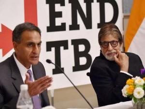 Bollywood actor Amitabh Bachchan speaks during a press briefing on the US government's commitment to end TB, ahead of the World TB Day in New Delhi