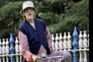 Bollywood megastar Amitabh Bachchan rides a cycle during the shooting of his new film 'Piku'