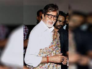 Amitabh Bachchan gestures at a promotional event of his new movie 'Pink'