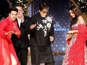 Amitabh Bachchan, Varun Dhawan and Alia Bhatt break into a jig at a fashion show