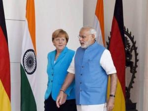 Prime Minister Narendra Modi with German Chancellor Angela Merkel
