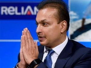 Anil Ambani greeting people during the Reliance capital AGM