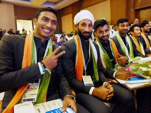 Indian men's hockey team members after the announcement of the squad for Rio Olympics 2016
