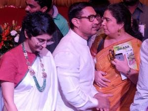 Aamir Khan along with his wife Kiran Rao and former wife Reena Dutta during the Satyamev Jayate Water Cup awards 2016