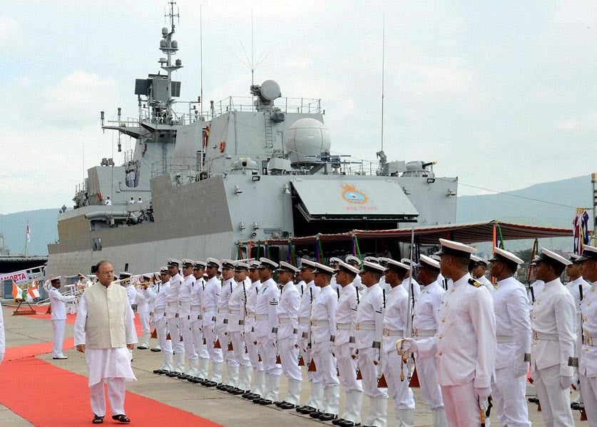 Defence Minister, Arun Jaitley, inspecting, guard, honour, commissioning, first, indigenously, built, stealth, Anti-Submarine, Warfare, Corvette, INS, Kamorta, ceremony, Visakhapatnam, naval, dockyard