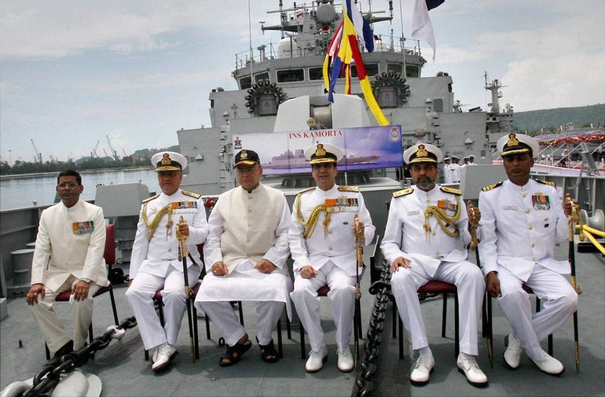 Defence Minister, Arun Jaitley, Navy officers, commissioning, first, indigenously, built, stealth, Anti-Submarine, Warfare, Corvette, INS, Kamorta, ceremony, Visakhapatnam, naval dockyard
