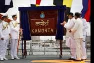 Defence Minister Arun Jaitley and Navy officers during the commissioning of  the first indigenously built stealth Anti-Submarine Warfare Corvette INS Kamorta
