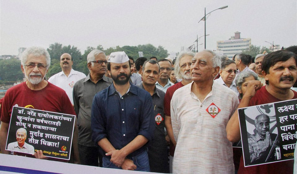 Veteran Bollywood actors, Naseeruddin Shah, Amol Palekar, participating, protest, march, over, lack, progress, anti-superstition, campaigner, Narendra Dabolkhar's, murder, case