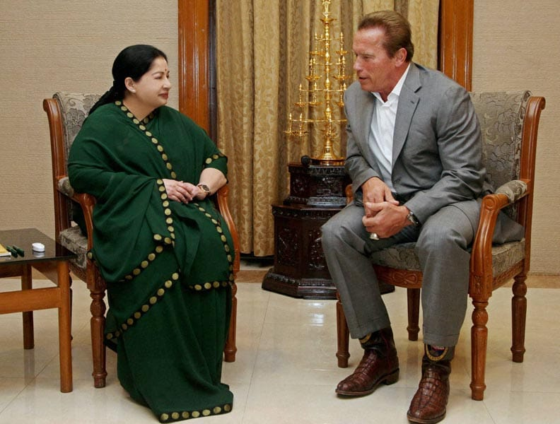 Hollywood star, Arnold Schwarzenegger, meeting, Tamil Nadu, Chief Minister, J Jayalalithaa, Secretariat, Chennai