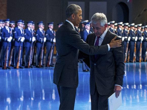 President Barack Obama, Secretary of Defense Chuck Hagel, Vice President Joe Biden, Fort Myer, Va. Obama,