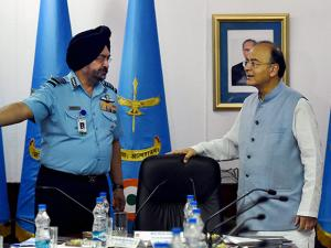 Defence Minister Arun Jaitley during the Air Force Commanders' Conference at Air Headquarters (Vayu Bhavan)