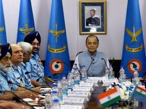 Defence Minister Arun Jaitley with Air Chief Marshal Birender Singh Dhanoa during the Air Force Commanders' Conference