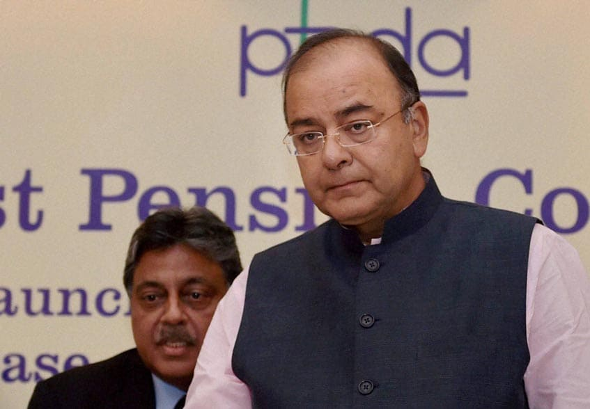 Finance Minister, Arun Jaitley, launches, PFRDA's, website, Chairman, Pension Fund, Regulatory, Development, Authority, (PFRDA), RV Verma, looks, First Pension Conclave