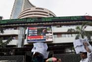 Bombay Stock Exchange in Mumbai during the presentation of the Union Budget 2015-16
