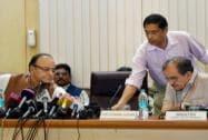 Arun Jaitley with Birender Singh and Chief Economic Adviser Arvind Subramanian