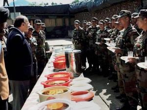 Defence Minister Arun Jaitley interacts with troops as he reviews security situation in the Valley