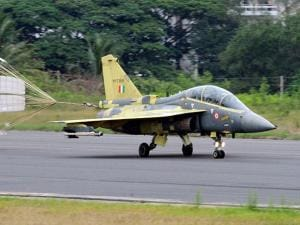 Chief of Air Staff Air Chief Marshal Arup Raha lands the Light Combat Aircraft (Tejas) after a sortie at HAL Bengaluru