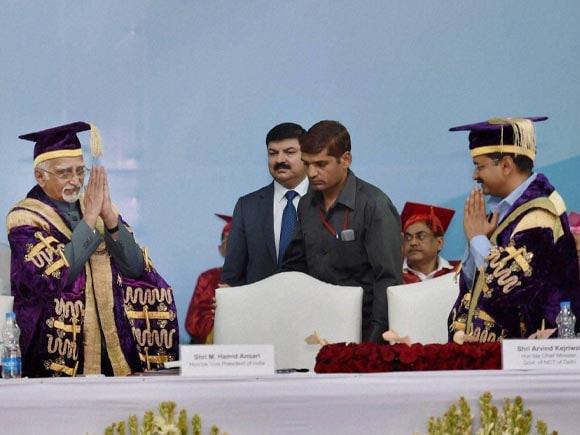 Chief Minister of Delhi,  Arvind Kejriwal, Kejriwal,  Vice President of India,  Hamid Ansari, Delhi Deputy Chief Minister, Manish Sisodia, Guru Gobind Singh, Guru Gobind Singh Indraprastha University, University