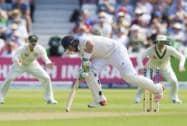 England's Ian Bell jumps