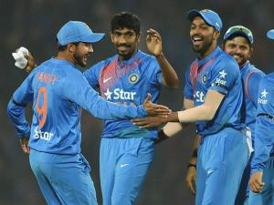 Indian players celebrate after beating England during their T20 match played in Nagpur