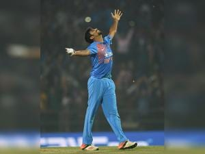 Jaspreet Bumrah celebrates after beating England during their T20 match played in Nagpur