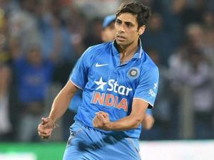 Ashish Nehra celebrates the wicket of Sri Lankan batsman  Danushka Gunathilake during the first T20