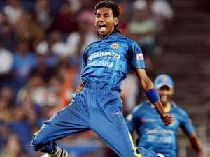 Sri Lankan bowler Dushmantha Chameera celebrates the wicket of Indian batsman Yuvraj Singh