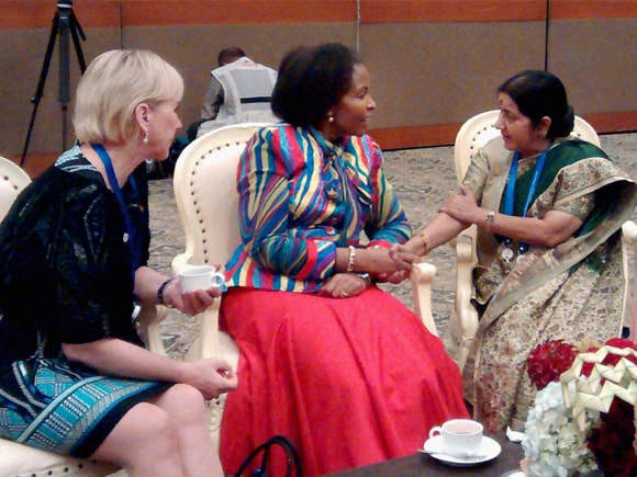 Asian African Summit, Asia, Africa, Sushma Swaraj, South African counterpart, Maite Nkoana-Mashabane, Swedish Foreign Minister, Margot Wallström, Jakarta, Indonesia