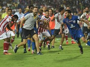 Atletico de Kolkata and Mumbai city FC players tussel during ISL Semi Final match