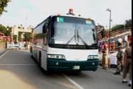 A Delhi-Lahore bus crossing the border gates at international border in Attari