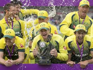Australia's captian Steven Smith celebrates with teammates