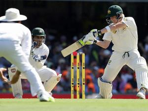 Australian batsman Steve Smith plays a shot