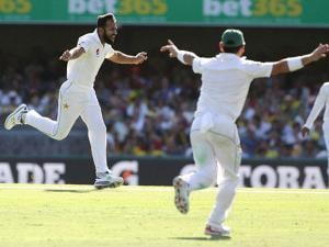 Pakistan's Wahab Riaz celebrates after taking the wicket of Australia's Matt Renshaw