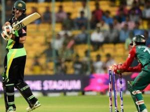 Australian batsman Glenn Maxwell stumped out by Mushfiqur Rahim during the ICC World T20 match between Australia and Bangladesh at Chinnaswamy Stadium
