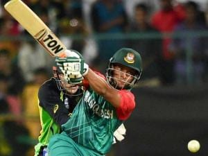 Bangladesh bastman Sakib Al Hasan  plays a shot during the ICC World T20 match between Australia and Bangladesh at Chinnaswamy Stadium