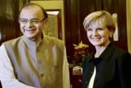 Arun Jaitley shakes hands with Foreign Minister of Australia, Julie Isabel Bishop