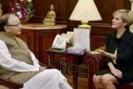 Arun Jaitley talks with Foreign Minister of Australia, Julie Isabel Bishop