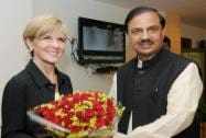 Minister of Foreign Affairs, Australia, Julie Bishop meeting the Minister of State for Culture Tourism  and Civil Aviation, Mahesh Sharma
