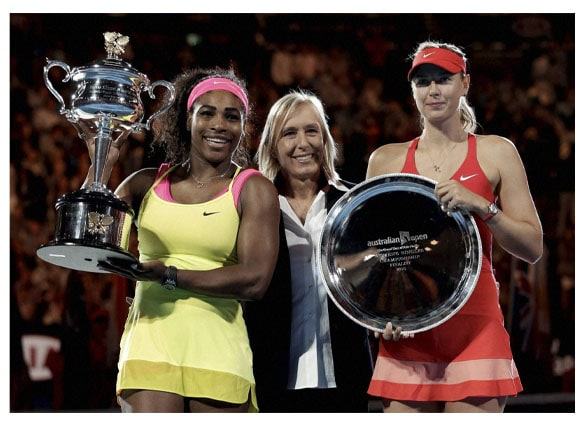 Australian Open tennis championship, Serena Williams, Maria Sharapova, Martina Navratilova