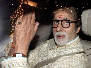 Amitabh Bachchan arrives to attend Diwali party at his residence
