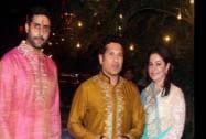 Cricket legend Sachin Tendulkar and his wife Anjali with Abhishek Bachchan