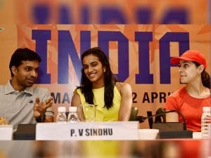 Badminton Coach Pullela Gopichand, P V Sindhu, Carolina Marin of Spain