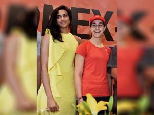 Carolina Marin of Spain and silver medalist  P V Sindhu during a press conference