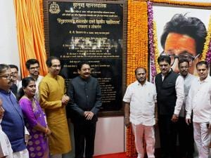 Vidhyasagar Rao, Governor of Maharashtra and Shiv Sena President Uddhav Thackeray during the dedication ceremony of Balasaheb Thackeray Medical College
